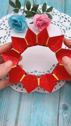 Paper Flowers Craft, Paper Crafts Origami, Paper Crafts For Kids, Flower Crafts, Paper Folding Crafts, Diy Crafts Hacks, Diy Crafts For Gifts, Creative Crafts, Instruções Origami