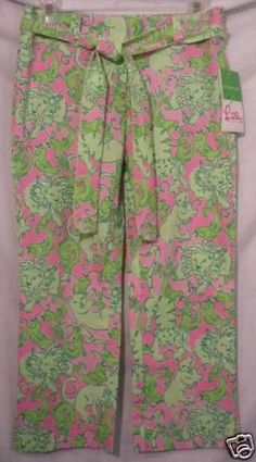 Lilly Pulitzer Tricia Phipps Fried Catfish Pink Green Capri Pants 0 NEW $155 #LillyPulitzer #CaprisCropped