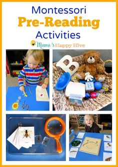 Enjoy six Montessori pre-reading activities for toddlers and preschoolers. These Montessori inspired activities include reading books, treasure baskets, labeling the environment, language mystery bags, matching work, and reading booklets. - www.mamashappyhive.com