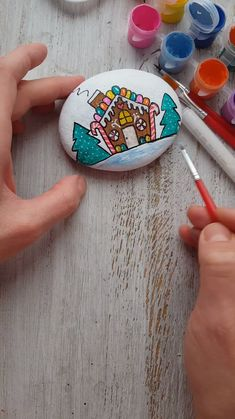 Look at this gorgeous Gingerbread house. Christmas rock painting tutorial with Artistro rock painting kit. Step by step tutorial with Gingerbread house. for kids Gingerbread house Kids Craft Supplies, Craft Kits For Kids, Crafts For Kids, Acrylic Painting For Kids, Paint Pens For Rocks, Christmas Rock, Christmas Videos, Christmas Games, Art Drawings For Kids