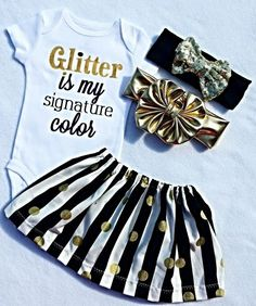 #LivAndCo Baby Clothes, Cute Girl Clothing, Glitter Is My Signature Color, Gift, Toddler Girl Shirt, Girls TShirt, Gold Sparkle, Girly Sayings, Liv & Co.™ - Liv & Co.