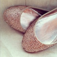 Champagne wedding shoes, ballet flats, Custom swarovski bridal shoes,. $160.00, via Etsy.