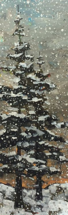 www.jillvansickle.com ©Jill Van Sickle Snowy Trees - painting, artwork, art, winter, snowflakes