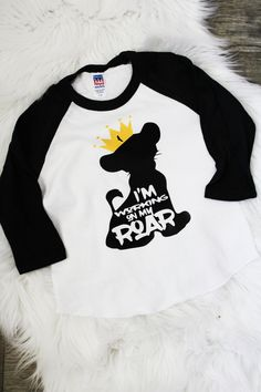 Lion king birthday party shirt-crown- simba-lion guard- Disney vacation-personalized birthday- graphic tee-first birthday-working on my roar One Year Birthday, Safari Birthday Party, Baby Boy 1st Birthday, Boy Birthday Parties, Birthday Shirts, Birthday Ideas, Birthday Cake, Lion King Theme, Lion King Party