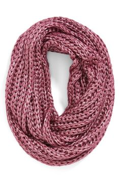 Love this metallic burgundy infinity scarf | Steve Madden.