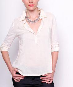 Look at this #zulilyfind! White Tab-Sleeve Button-Front Top #zulilyfinds