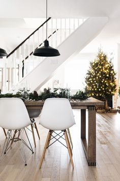 Scandinavian Christmas interior - dining room with Ikea table + Eames chairs