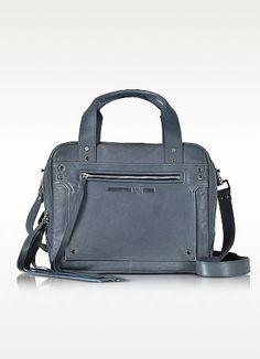 MCQ BY ALEXANDER MCQUEEN Denim Blue Leather Loveless Medium Duffle Bag. #mcqbyalexandermcqueen #bags #canvas #leather #lining #denim #shoulder bags #hand bags #