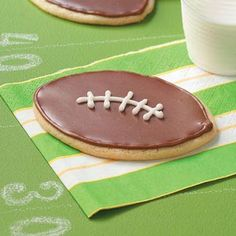 Touchdown Cookies Recipe...I would actually make these with peanut butter cookies and chocolate icing...:)