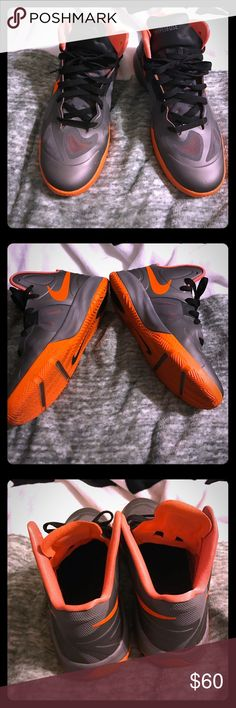 Nike Hyperfuse Previously loved ❤ Gray and orange Hyperfuse. Very comfortable basketball shoe. In good condition. Size 7Y Nike Shoes Sneakers