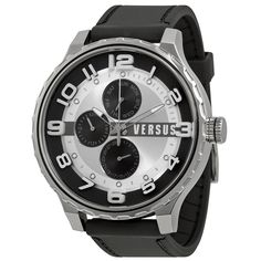 Versus By Versace Globe Multi-function White and Black Dial Black Rubber Mens #VersusbyVersace