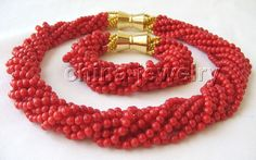 """P2916-Beautiful AAA 18"""" 10row 5mm natural red coral necklace & bracelet #Affiliate"""
