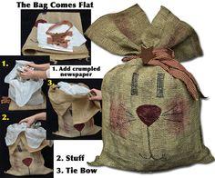 Burlap Bunny Bag - Kruenpeeper Creek Country Gifts