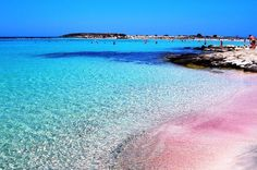 Elafonissi beach, Crete, Greece. The shallow, turquoise waters are amazing; the pink sand, unbelievable; the seclusion and the overall wild feeling, enchanting!
