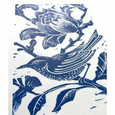 Amanda Colville UK Printmaker, Original Print Blue Bird Linocut; Hand printed, original linoleum, printed in dark blue oil based inks onto heavy weight white cartridge paper. Size of image: 10cm x 15cm Size of Paper: 21 cm x 30cm