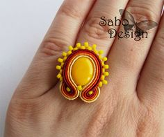 FIRE soutache ring hand embroidery in red orange by SaboDesign.