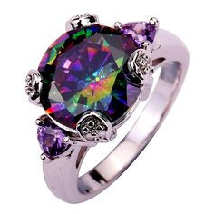Rings Pretty Alexandrite 10kt White Gold Filled Ring Size 8 Good Reputation Over The World Fashion Jewelry