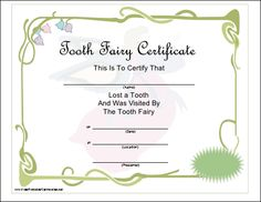 1000 images about tooth fairy on pinterest tooth fairy for Free printable tooth fairy certificate template