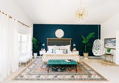 Bohemian bedroom inspiration Alexandra Evjan get the modern bohemian master bedroom makeover both her and her husband adore Blue Accent Walls, Accent Wall Bedroom, Gray Bedroom, Peacock Blue Bedroom, Peacock Blue Paint, Emerald Bedroom, Jewel Tone Bedroom, Silver Bedroom, Blue Bedrooms