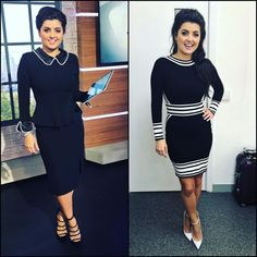 Simply black and white! Sexy Outfits, Pretty Outfits, Female News Anchors, Monochrome, Peplum Dress, Stylists, Zara, Celebs, Photo And Video