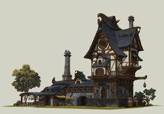 ArtStation - Fantasy Concept, Yongseok Jung Fantasy City, Fantasy Castle, Fantasy House, Medieval Fantasy, Fantasy World, Minecraft Architecture, Chinese Architecture, Classical Architecture, Building Concept