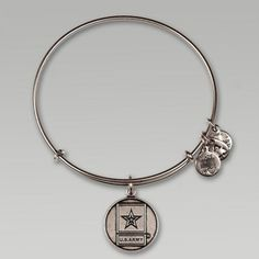 ALEX AND ANI US ARMY CHARM BANGLE (SILVER)