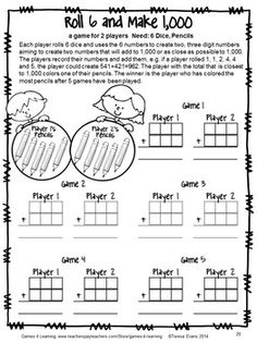 I love the thinking involved in this game as children try to total as close as possible to 1,000, from Back to School Math Games Fourth Grade by Games 4 Learning $