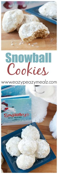 Snowball Cookies: AKA Mexican Wedding Cookies or Pecan Balls. These are soooo good. And with no eggs to crack, great to have kids help with! Cookie Desserts, Just Desserts, Cookie Recipes, Delicious Desserts, Baking Recipes, Dessert Recipes, Yummy Food, Yummy Treats, Sweet Treats