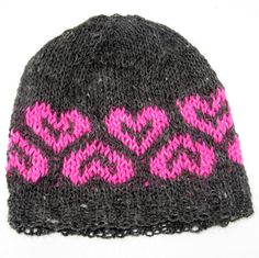 Hand Knit Alpaca Wool Hat  Gray with Pink by NorthStarAlpacas, $25.00