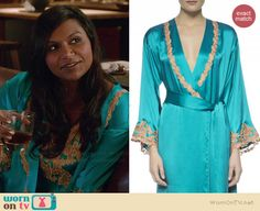 Mindy's turquoise blue lace applique robe on The Mindy Project.  Outfit Details: http://wornontv.net/37931/ #TheMindyProject