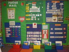 focus wall (reading area, vocabulary, and big ideas) Classroom Walls, Classroom Setup, Classroom Design, Future Classroom, Apple Classroom, Kindergarten Focus Walls, Kindergarten Literacy, Preschool Rooms, Kindergarten Classroom
