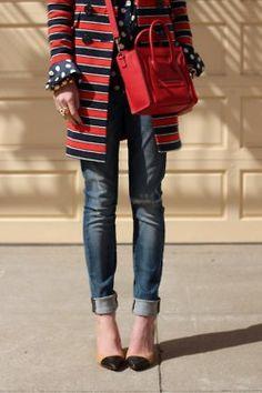 perfect, stripes, polka dots, skinny jeans, nude/black heels....ahhhhhh love!