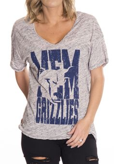 Memphis Grizzlies Abbreviation Women's Oversized Hi-Lo Burnout V-Neck Slub