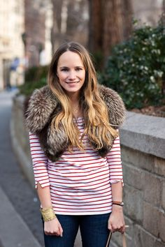 grace from stripes & sequins. so cute. a way to incorporate fur into an everyday casual outfit. love.