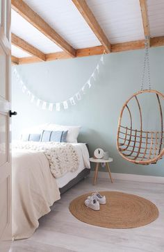 unique bedroom design and decor ideas you will love it 38 Pastel Bedroom, Bedroom Paint Colors, Bedroom Green, Home Bedroom, Bedroom Decor, Pastel Room Decor, Scandi Bedroom, Bedroom Inspo, Bedroom Ideas
