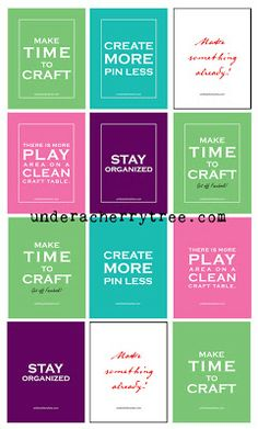 Under A Cherry Tree: Jin's FREE Craft Resolutions Printable Cards and Posters-- looks I found some printable art for my CR!