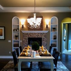 fire place in dining room   fireplace in the dining room.   home decor