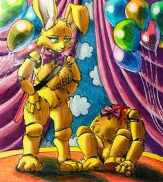 It seems somebody is stuffed into my buddy again. Inside my buddy / FNaF Golden Family, Horror Video Games, Dream Pictures, 2 Kind, Funtime Foxy, Fnaf Characters, Freddy Fazbear, Fnaf Drawings, T Art