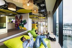 Google Campus Dublin / Camenzind Evolution + Henry J. Lyons Architects- I want a couple of these giant floor pillow/chairs that overlook a wonderful water scene!
