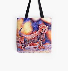 'Cheetah cub' Tote Bag by Juaco Cheetah Cubs, My Arts, Reusable Tote Bags, Art Prints, Printed, Awesome, Stuff To Buy, Products, Art Impressions