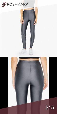 American Apparel leggings Shiny grey nylon tricot leggings American Apparel Pants Leggings