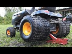 How to Put Dualie Tires on a Mower - Modern Design Riding Lawn Mower Attachments, Garden Tractor Attachments, Lawn Mower Tires, Lawn Mower Tractor, Ride On Lawn Mower, Lawn Mower Maintenance, Lawn Mower Repair, Craftsman Riding Lawn Mower, Garden Tractor Pulling