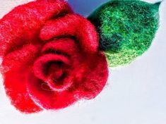 Beatifull rose Felt work, Wool, brooch or pin hair. Hand made felted Perfect gift. Cherry Flower, Sugar Rose, Elegant Flowers, Hair Pins, Valentines, Wool, Confetti, Brooches, Flora