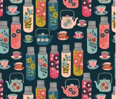 Spoonflower's Tea Thermos Vintage Florals designed by Spoonflower