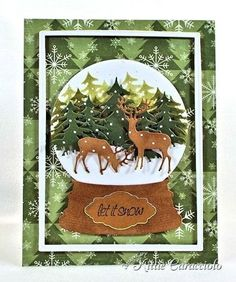 Forest Deer and Trees Snow Globe Card by Kittie Caracciolo (Impression Obsession Fir Trees, Small Deer, Snow Globe; Spellbinders Matting Basics A & B) Christmas Cards To Make, Christmas Deer, Xmas Cards, Handmade Christmas, Holiday Cards, Christmas Crafts, Christmas Snow Globes, Shaker Cards, Winter Cards