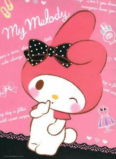 """My Melody with a black dotty bow"" My Melody Wallpaper, Sanrio Wallpaper, Friends Wallpaper, Hello Kitty Wallpaper, Iphone Wallpaper, Sanrio Characters, Cute Characters, Kawaii Cute, Kawaii Girl"