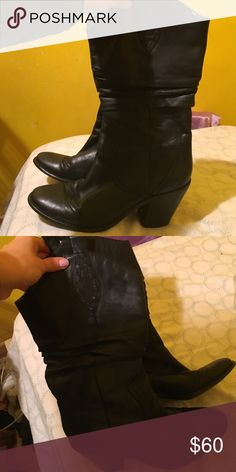 Bcbg cow boy leather boots BCBG cow boy leather black boots. Hardly ever worn. Comfortable leather boots and warm insulation. Like new. Very clean and excellent condition. Only worn twice. BCBG Shoes Heeled Boots
