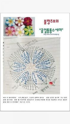 제가 블로그를 안해서.. 맞게 되는지 모르겠네요 손도안이라 실수도 있고.. 잘못보실줄 알지만... 이렇게 ... Crochet Scrubbies, Crochet Potholders, Crochet Blocks, Crochet Doilies, Crochet Flowers, Crochet Motif Patterns, Granny Square Crochet Pattern, Crochet Diagram, Crochet Chart