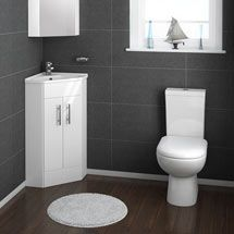 Alaska Gloss White Corner Vanity Unit with Short Projection Close Coupled Toilet & Soft Close Seat