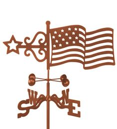 United States Flag weathervane, Old Glory! See our optional Rain Gauge! Your will specify your choice when ordering. Place it anywhere in your yard or garden! We bake on the copper vein powder coat. Rain Gauge, Whitehall Products, Weather Vanes, Wind Spinners, Old Glory, Flag Design, Antique Copper, Yard Art, American Flag